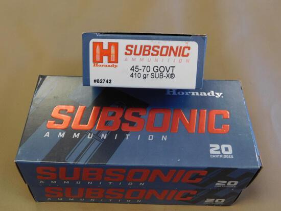 Hornady 45-70 Gov. 410 Gn. Sub-Sonic Ammo