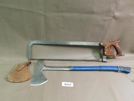 Estwing axe and H. Disston meat saw