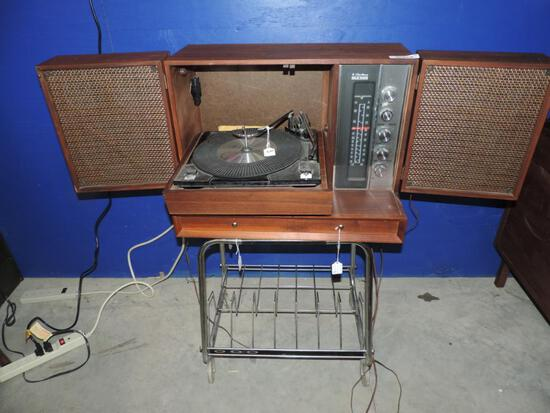 Beautiful mid century table top record player stereo with stand.
