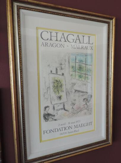Signed Marc Chagall Artists Studio Color Poster