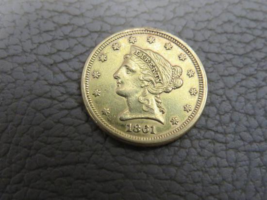 1861 US 2-1/2 Dollar Liberty Head Gold Coin