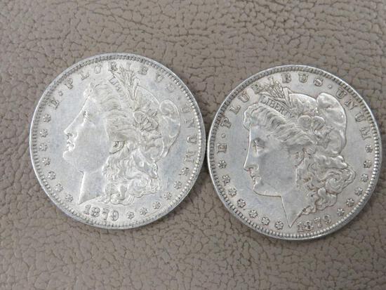 Two 1879 Morgan Silver Dollar Coins