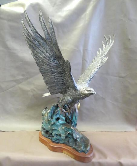 Lorenzo E. Ghiglieri 'Majestic Spirit' Silver Eagle Statue