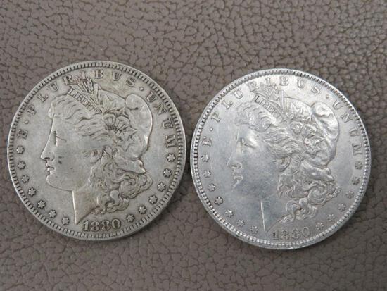 Two 1880 Morgan Silver Dollar Coins