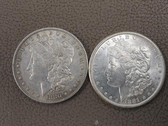 1880 and 1881 Morgan Silver Dollar Coins