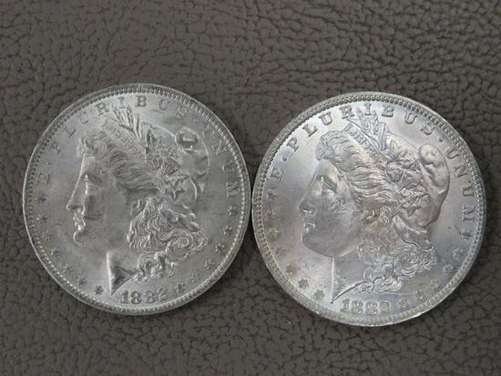 Two 1882 Morgan Silver Dollar Coins