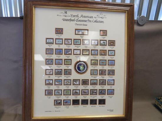 Framed Ducks Unlimited Limited Edition Cloisonne Pin Collection