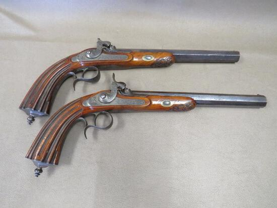 Fine Pair of Matched Belgian Dueling Pistols