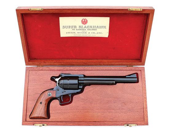 Rare Ruger Old Model Long Frame Super Blackhawk Revolver with Mahogany Presentation Case