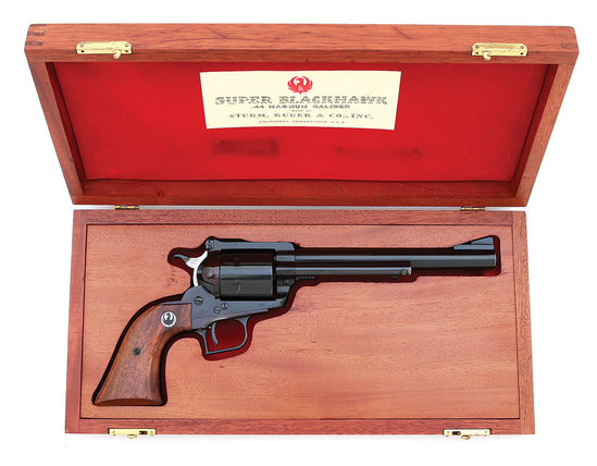 Low Number Ruger Old Model Super Blackhawk Revolver with Rare Mahogany Presentation Case