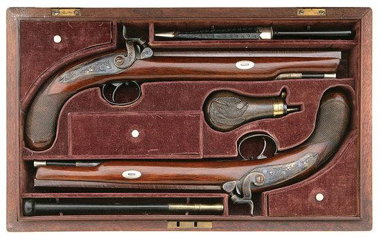 Fine Cased Pair of Percussion Pistols