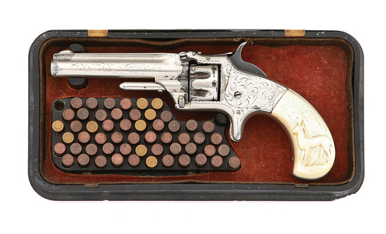 Engraved Smith & Wesson No. 1 Third Issue Revolver with Gutta Percha Case