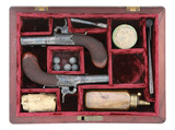 Cased Pair of British Percussion Pocket Pistols by William Ellis