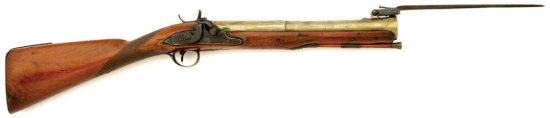 British Brass Barreled Percussion Blunderbuss With Top Snap Bayonet