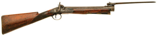 Early Unmarked Iron Barrel British Blunderbuss With Top Snap Bayonet