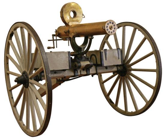 Colt Model 1883 Gatling Gun On Original Watervliet Arsenal Carriage