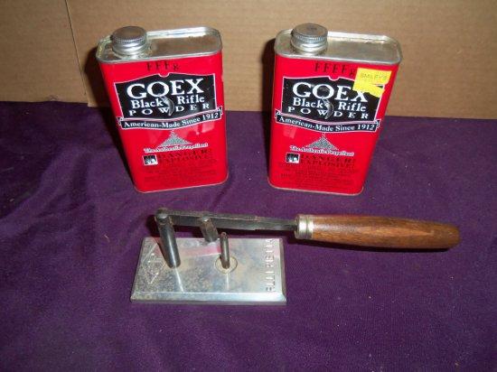 "(2) CANS OF ""GOEX"" POWDER & BLACK POWDER PISTOL LOADER"