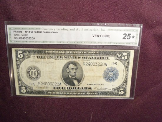 """1914 """"5"""" DOLLAR FEDERAL RESERVE NOTE"""