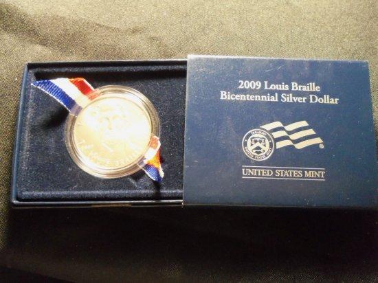 "2009 ""LOUIS BRAILLE"" Bicentennial silver Dollar"