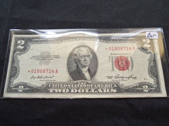 """""""1953"""" $2 BILL WITH RED SERIAL # AND SEAL"""