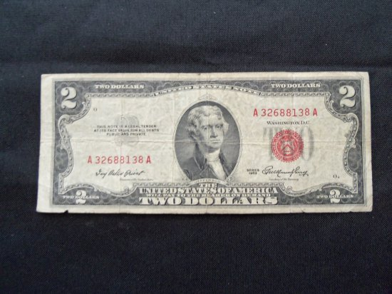 """""""1953 $2 BILL WITH RED SERIAL # AND SEAL"""