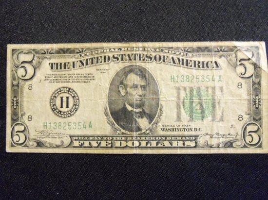 1934   $5  BILL