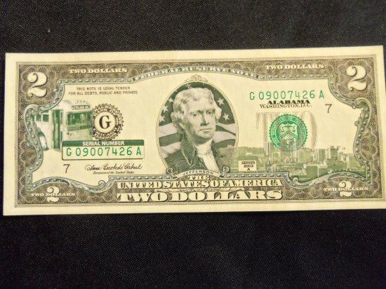 "2003 A   $2 COMMEMORATIVE  STATE BILL ""ALABAMA"""