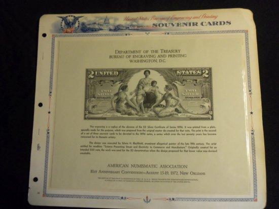 U.S. BUREAU OF ENGRAVING & PRINTING SOUVENIR CARD