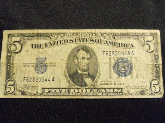1934 A    $ 5  BILL