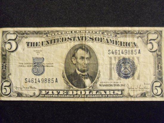 1934 D  $5 BILL