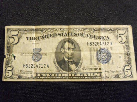 1934 A  $5  BILL