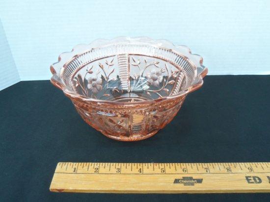 """Orange "" "" flower print glass bowl"