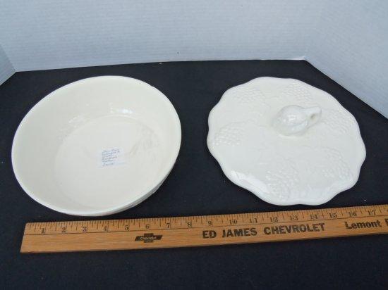 """White "" Glass covered dish"
