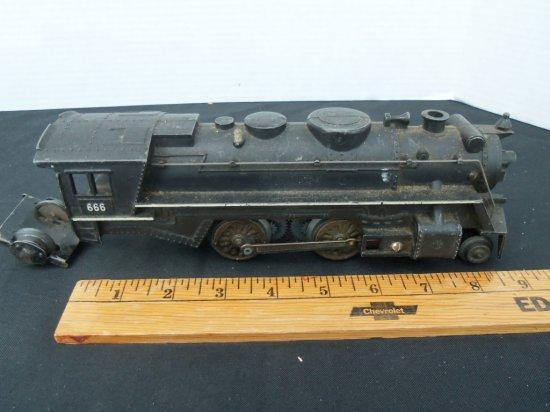 "Model Railroad Locomotive  ""666"" white trim"