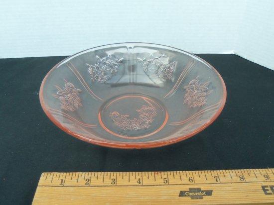 """""""PINK """" Rose Pattern Glass Bowl"""