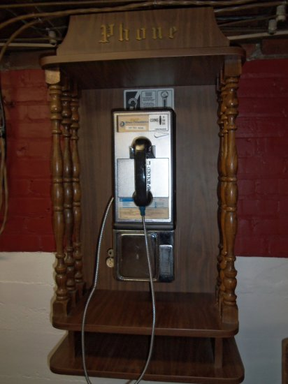 WALL HUNG PAY PHONE IN WOODEN CASE