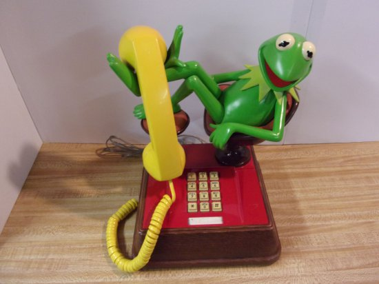 """KERMIT"" SITTING PUSH BUTTON PHONE"
