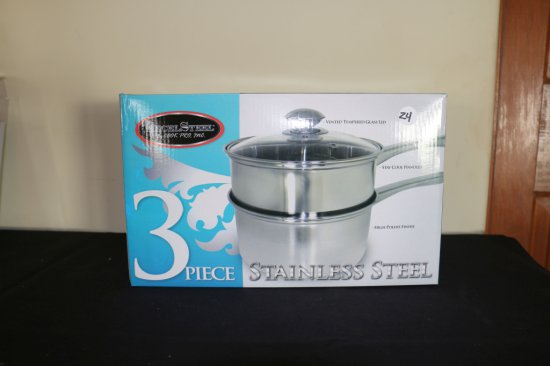 3 PIECE STAINLESS STEEL DOUBLE BOILER