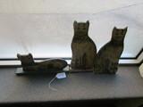 3 Wooden Cat Decorations