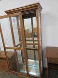 Sliding Door Curio Cabinet, Glass Shelves, Mirrored Back
