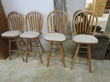 4 Counter Height Stools, 1 Has Split In Seat