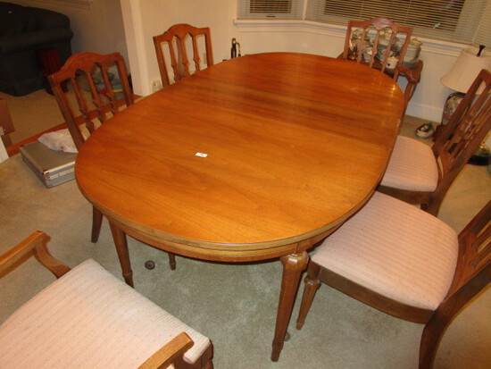 Dining Room Table with 6 Chairs, 3 Leaves