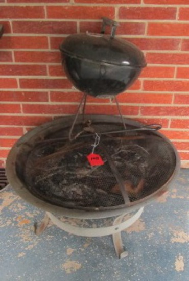 FIRE PIT AND WEBER MINI GRILL