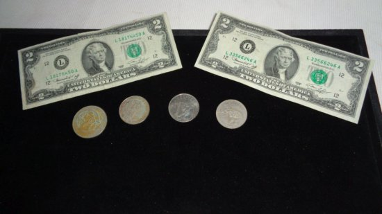 (2) 1976 Two Dollar Bills &  (4) Peso Coins