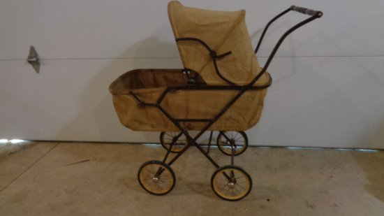 Vintage Baby Stoller /Canvas and Metal
