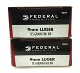 100 Rds. Federal 9mm Luger Ammunition