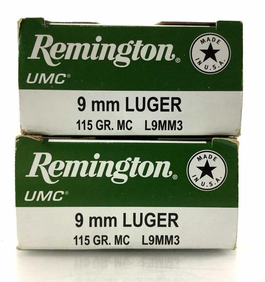 100 Rds. Remington 9mm Luger 115 Gr. Ammo