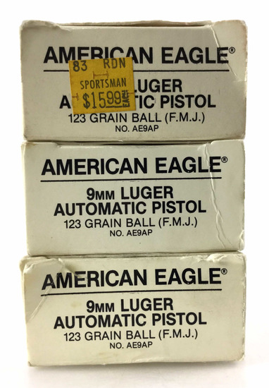 121 Rds. American Eagle 9mm Luger 123 Gr. Ammo