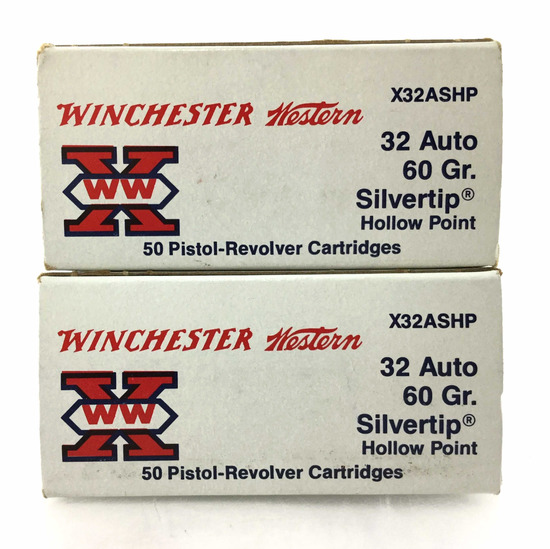 100 Rds. Winchester Western 32 Auto 60 Gr. Ammo