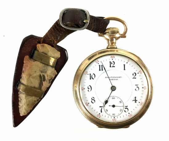 C.1913 Illinois 17j Pocket Watch & Arrowhead Fob